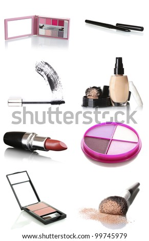 A set of cosmetic products isolated on white