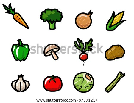 A set of cute and colorful cartoon vegetable icons. Raster.