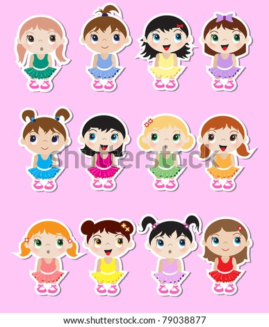 A set of cute little baby ballerina stickers.