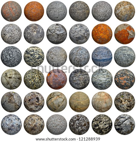 A set of 3D stone balls on a white background - seamless texture