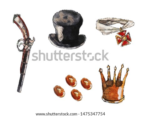 a set of different objects: a hat-cylinder, coins, an order, a crown and a retro gun, isolated image, object, watercolor, illustration