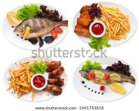 A set of dishes with fish and poultry with a side dish. Dinner at the restaurant. Isolated on white