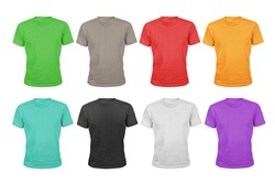 A set of eight color cotton t-shirts isolated on white background