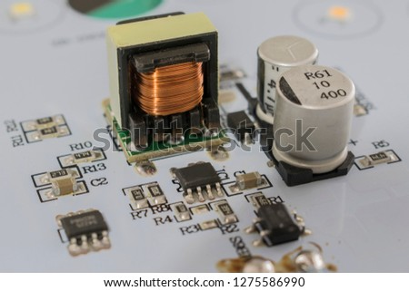 a set of electronic components on the electronic board #1275586990