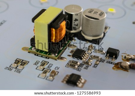 a set of electronic components on the electronic board #1275586993