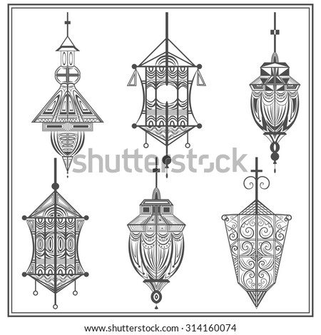 A set of elegant suspended lamps on a white background. Isolated black ethnic elements with swirls for design holiday cards, flyers, brochures. illustration