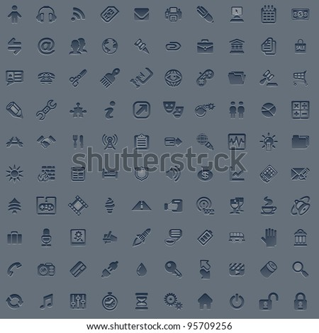 A set of 100 embossed style web icons for all your internet, interface or app needs