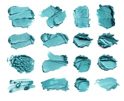 A set of emerald colored strokes, made with eyeliner or acrylic paint, isolated on a white background.