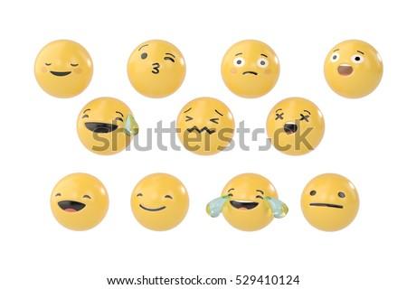 A set of emoji.3D illustration.