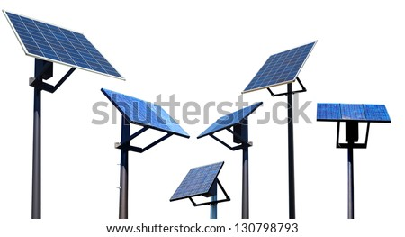 A set of environment solar panel poles, isolated white background