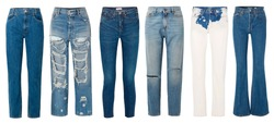 A set of fashionable  jeans on a white background