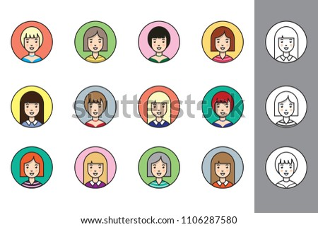A set of female avatars, in flat style with black stroke. Variety of hairstyles, clothing and colours with a black and white set to colour yourself.