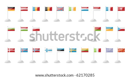 a set of flags of European countries