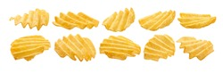 A set of fluted potato chips. Isolated on a white background