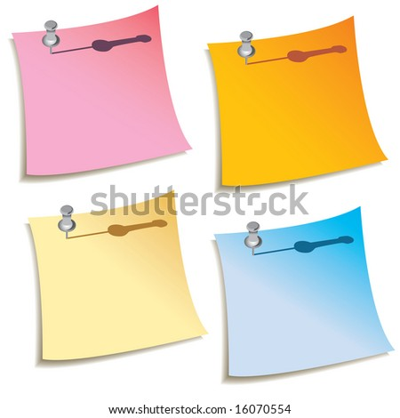 A set of four blank notes with push pins in them