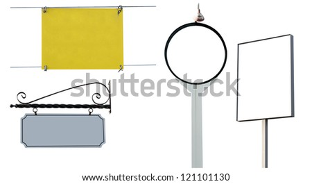 A set of four high resolution signs isolated on white