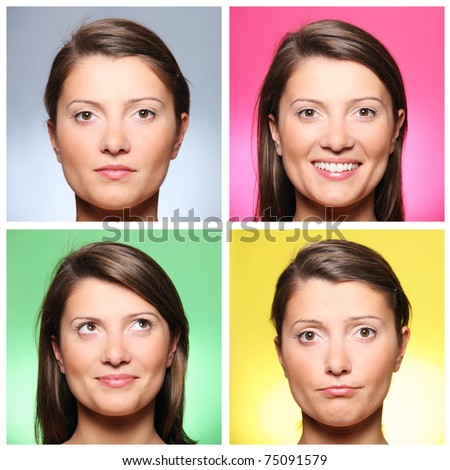 A set of four portraits of a pretty young woman expressing different emotions over colourful backgrounds