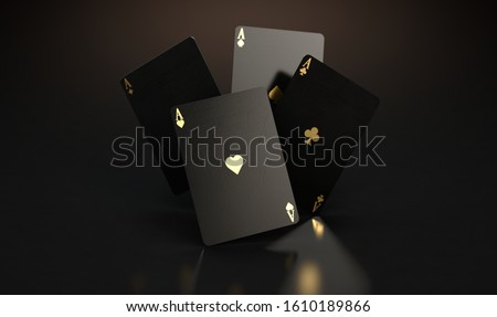A set of four reflective black casino ace cards with gold markings floating in the air on a dark classy background - 3D render Сток-фото ©