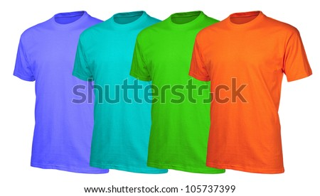 A set of four vibrant (vitamin) color cotton t-shirts isolated over white background