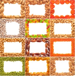 A set of frames from nuts, legumes and dried fruits on a white background.