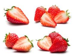 A set of fresh strawberry isolated on white background.