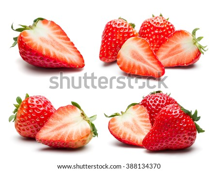 Shutterstock A set of fresh strawberry isolated on white background.
