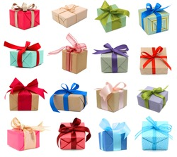 A set of gift boxes, holiday presents