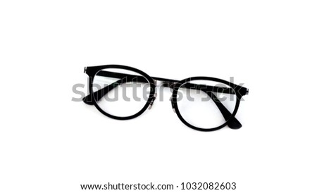 A set of glasses isolated for model icons on white background. Silhouettes. Various shapes - stock photo. #1032082603