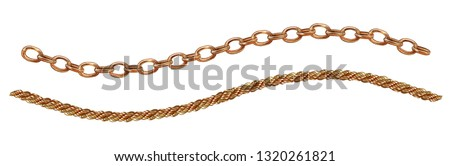 A set of gold chains, women's jewelry, chain rope and anchor chain, watercolor drawing on a white background, isolated.
