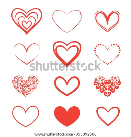 A set of hearts on a white background.