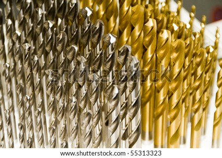 A set of high speed steel drill bits - stock photo