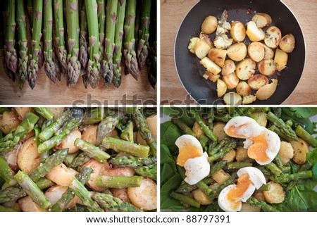 A set of images with ingredients and final result for a delicious, healthy spring salad with asparagus, roast potatoes with thyme, eggs and spinach.