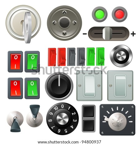 A set of knobs, switches and dials