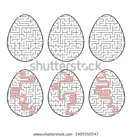 A set of labyrinths in the form of eggs. Black Stroke. A game for children. With the answer. Simple flat  illustration  on white background.