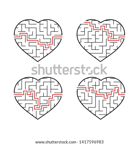 A set of labyrinths of hearts. Game for kids. Puzzle for children. Labyrinth conundrum. Flat  illustration  on white background.