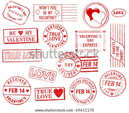 A set of 15 large, Valentine's Day-themed stamps isolated on white. Ideal for bitmap brushes, retro collages, etc.