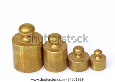 A set of lead weights isolated on whtie background