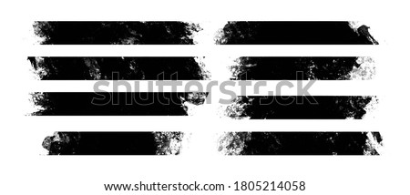 a set of lower third stroke lines created with black paint roll. materials to create text backgrounds on poster design, print, video, banner, etc. Foto d'archivio ©
