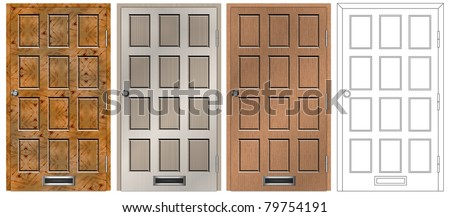 A set of main entry house door in four different designs and textures / doors collection