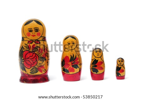 a set of Matryoshka doll isolated on a white background