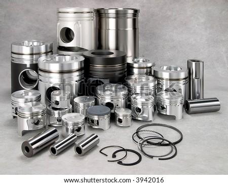 a set of metal pistons