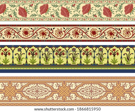 A Set Of Mughal Art Borders. Antique illustration. Vintage paisley with floral border. Decorative ornament backdrop for fabric, textile, wrapping paper, card, invitation, wallpaper, digital design.