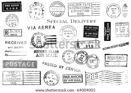 A set of nineteen large postal marks mostly from the 1930s and 1940s isolated on white. Ideal for bitmap brushes, retro collages, etc.