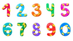 A set of numbers from 0 to 9 of colorful children's plasticine with yellow autumn leaves isolate on white background