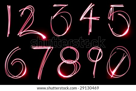 A set of numbers made from motion blurred light.