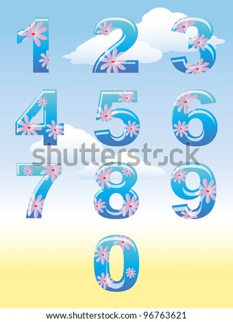 A set of numbers with summer flower theme against blue sky. Also available in vector format