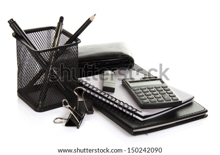 A set of office accessories, man's purse and flash card isolated on white stock photo