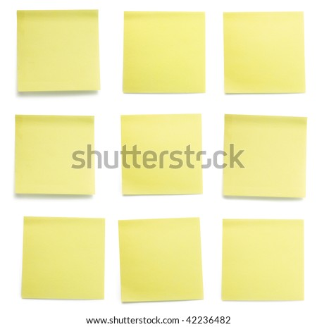 A set of office/work related yellow colored paper sticky notes. Isolated on white background include clipping path.