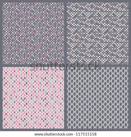 A set of 4 perfect seamless pink retro patterns.