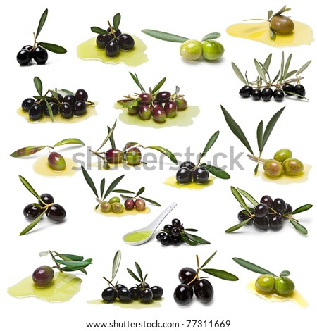 A set of pictures about green and black olives.